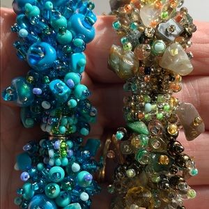 STUNNING BEADED MAGNETIC BRACELETS LOT OF 2
